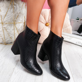 Cassy Black Croc Ankle Boots