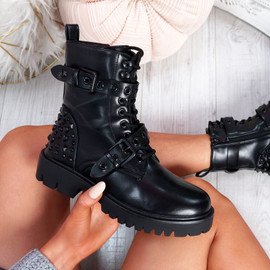 Rello Black Studded Ankle Boots