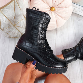 Lodda Black Croc High Top Biker Ankle Boots
