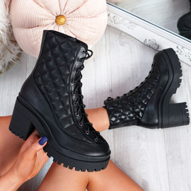 Miffa Black Lace Up Block Heel Ankle Boots