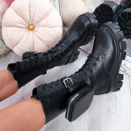Poffa Black High Top Lace Up Ankle Boots