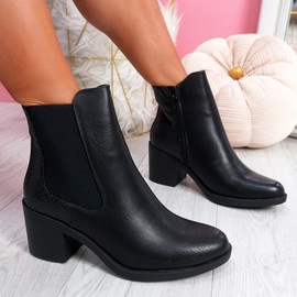 Nuwa Black Snake Block Heel Ankle Boots
