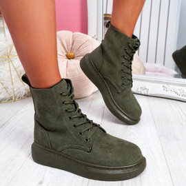 Fya Army Green Lace Up Ankle Boots