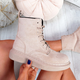 Fya Beige Lace Up Ankle Boots