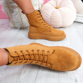 Fya Camel Lace Up Ankle Boots