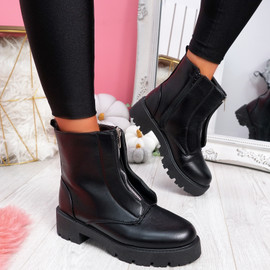 Loppa Black Pu Zip Ankle Boots
