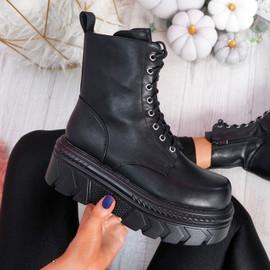Mimma Black Flatform Ankle Boots