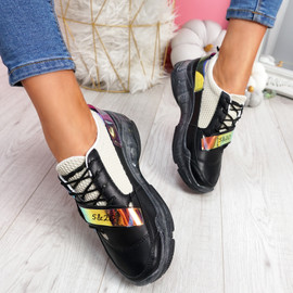 Huma Black Chunky Running Trainers