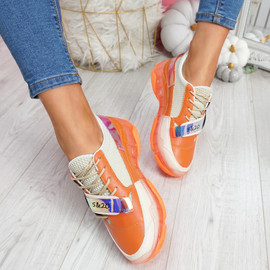 Huma Orange Chunky Running Trainers