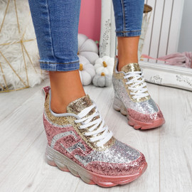 Disso Champagne Glitter Wedge Trainers