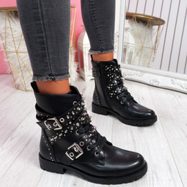 Bavy Black Pu Studded Ankle Boots
