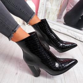 Gory Black Croc High Block Heel Ankle Boots
