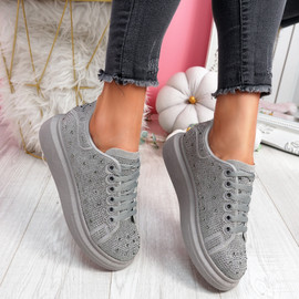 Erry Light Grey Studded Trainers