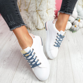 Dibby White Gold Lace Up Trainers