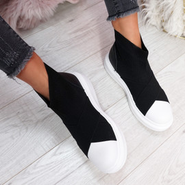Zenny Black Sock Platform Trainers