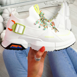 Loppo White Knit Chunky Sneakers