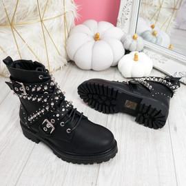 Nizzo Black Studded Biker Ankle Boots