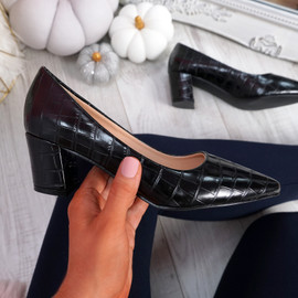 Pressy Black Croc Block Heel Pumps