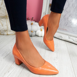 Pressy Orange Croc Block Heel Pumps