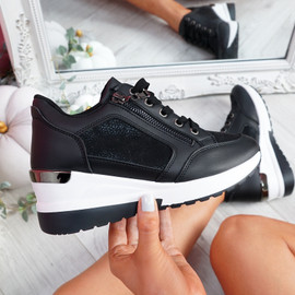 Joky Black Wedge Trainers