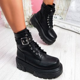 Vorry Black Buckle Biker Ankle Boots