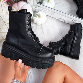 Zonde Black Spike Studs Ankle Boots