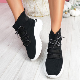 Jodda Black Sock Chunky Sneakers