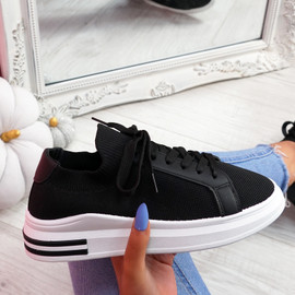 Havy Black Lace Up Trainers