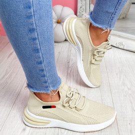 Bimma Beige Knit Trainers