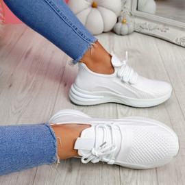 Bimma White Knit Trainers