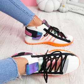 Jozzy White Knit Sneakers