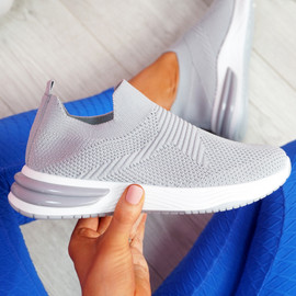 Fibba Grey Slip On Knit Sneakers