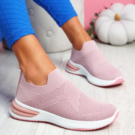 Fibba Pink Slip On Knit Sneakers