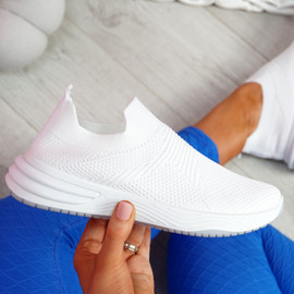Fibba White Slip On Knit Sneakers