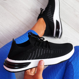 Laka Black Knit Sport Trainers