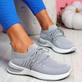 Laka Grey Knit Sport Trainers