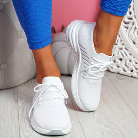 Laka White Knit Sport Trainers