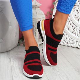 Jige Red Mesh Sneakers