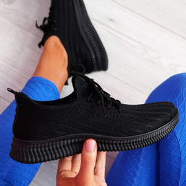 Mizzy Black Knit Sneakers