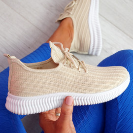 Mizzy Beige Knit Sneakers