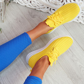 Mizzy Yellow Knit Sneakers