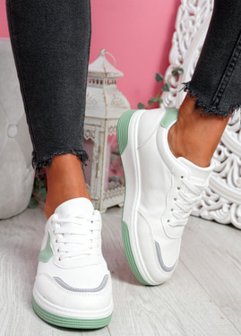 Lunny Green Lace Up Plimsolls