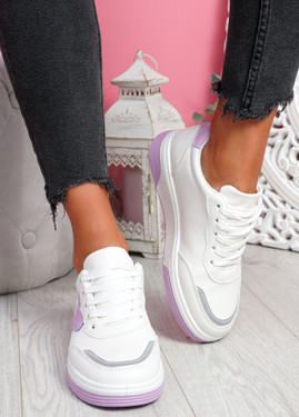 Lunny Purple Lace Up Plimsolls