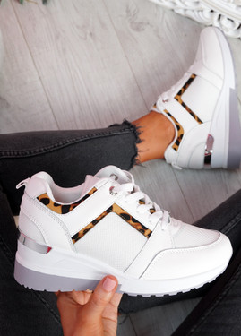 Milla White Wedge Platform Trainers