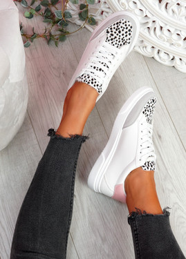 Nury White Leopard Trainers