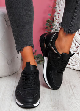 Huga Black Glitter Trainers