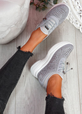 Hifo Grey Diamante Studded Trainers