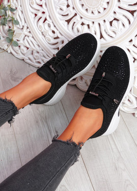 Hifo Black Diamante Studded Trainers