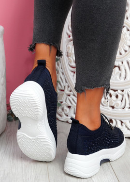Hifo Navy Diamante Studded Trainers