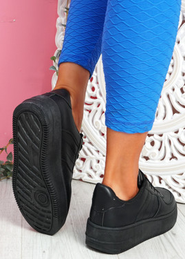 Merty Black Flatform Trainers